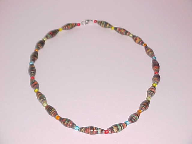 (SOLD) Black Multi-Colored Paper Bead Necklace