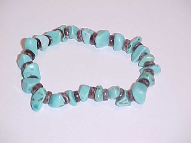 Turquoise and Brown Shell Beaded Stretch Bracelet 6 - 6.5 inches
