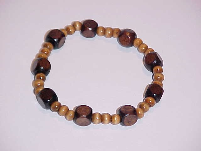 (SOLD) Brown Cube Beaded Wooden Stretch Bracelet 7 inches
