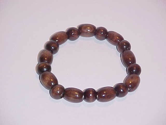 (SOLD) Earthy Dark Brown Beaded Wooden Stretch Bracelet 7.5 - 8 inches