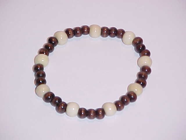 Dark Brown and Cream Beaded Wooden Stretch Bracelet 7 inches