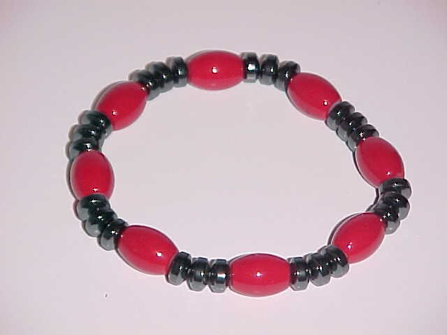 Red and Hematite Beaded Stretch Bracelet 7 inches
