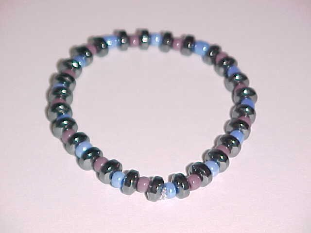 Purple, Periwinkle, and Hematite Beaded Stretch Bracelet 7 inches
