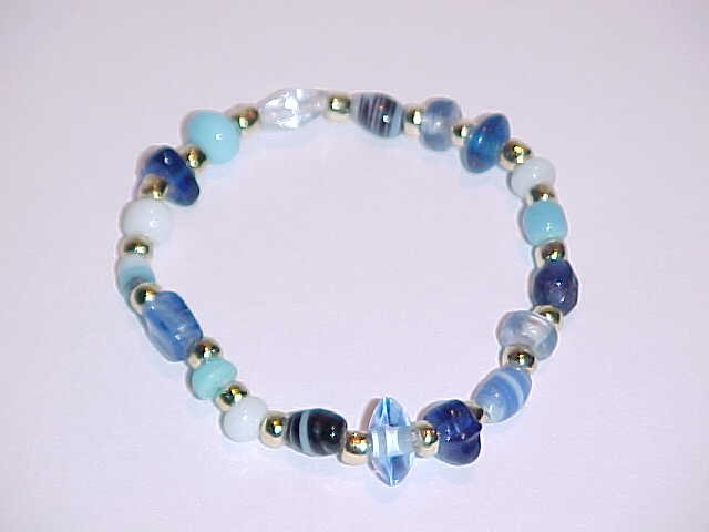 Cool Blue and Gold Beaded Stretch Bracelet 7 inches