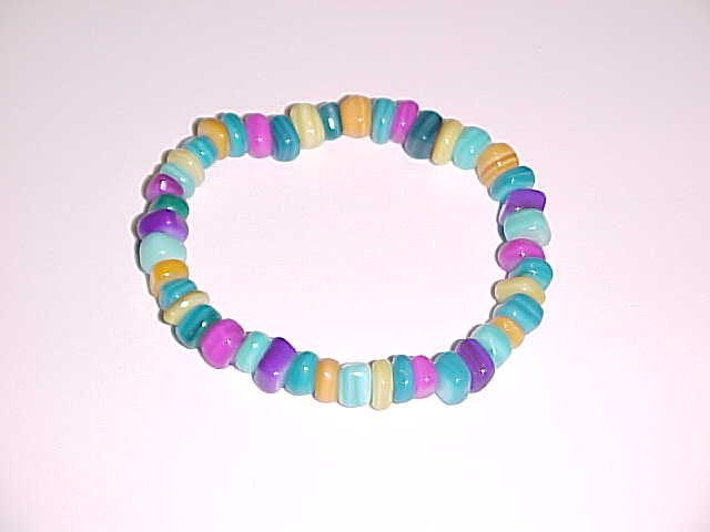 Candy Colored Beaded Stretch Bracelet No.3   6 - 6.5 inches