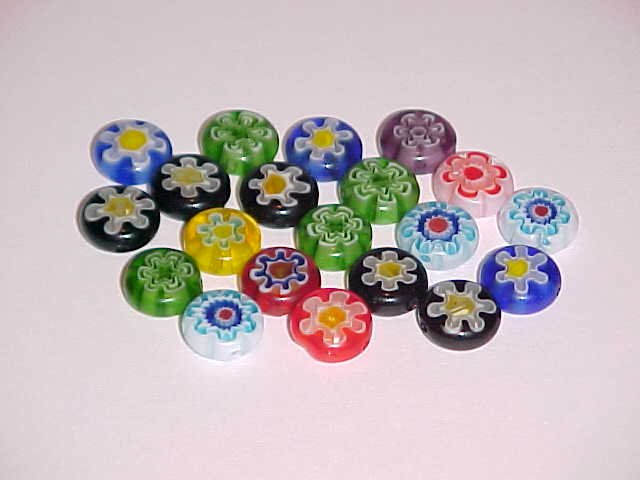 (SOLD) 1 Lot of 20 Mixed Millefiori Coin Beads 10mm