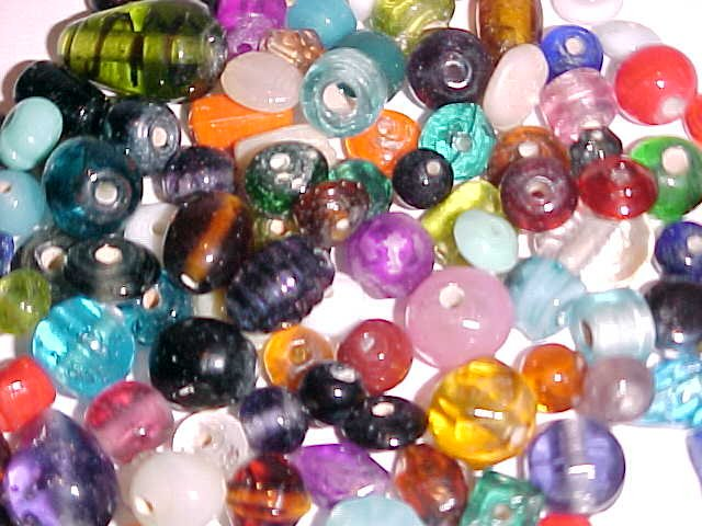 1 Lot of 32 Mixed Lampwork Beads 6-12mm