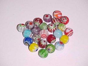1 Lot of 24 Mixed Millefiori Round Beads 8mm