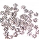 1 Lot of 50 Silver Plated Metal Daisy Spacer Beads 5mm