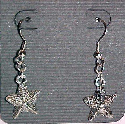 Silver-Tone Starfish Earrings (Pierced Ears)