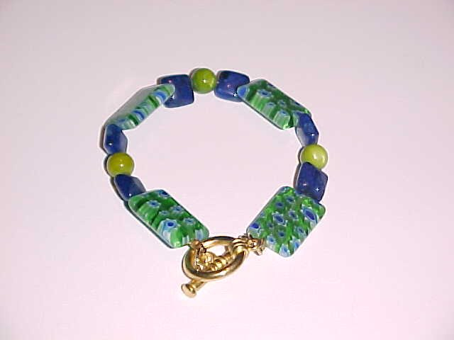 Green Millefiori and Blue Lapiz Jasper Beaded Bracelet 6.5 - 7 inches