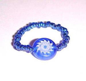 Brilliant Blue Eye Millefiori Bead Ring Size 6-7