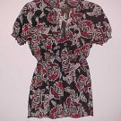Black Red White V-Neck Babydoll Shirt with Empire Waist Size Small