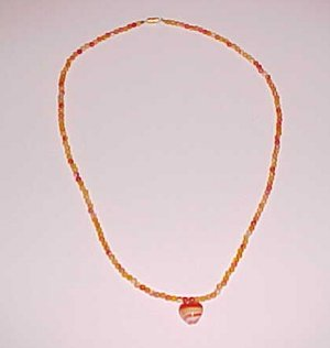 Orange and White Heart Pendant Necklace 22 inches