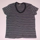 Black and Grey Striped Knit Short Sleeved Top Size Medium