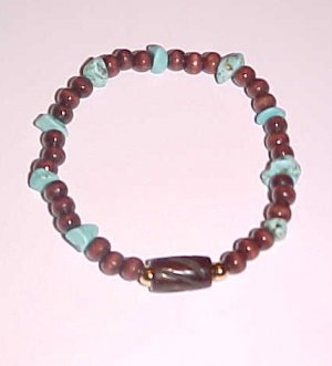 Turquoise, Wood and Bone Stretch Bracelet 7 - 7.5 inches