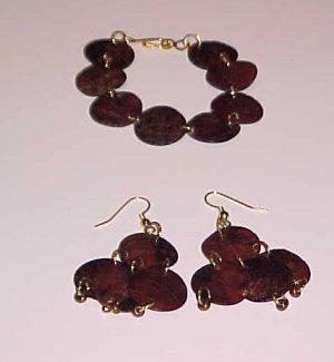 Copper Boho Bohemian Medallion Bracelet and Earring Set
