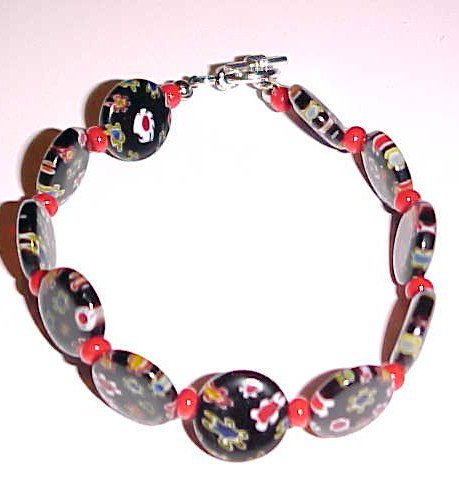Black and Red Millefiori Bracelet with Toggle Clasp 7 - 7.5 inches