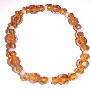 Amber and Peach Stretch Bracelet 7.5 - 8 inches