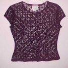 You Babes Burgundy Lace Shell Cap Sleeve Size Medium