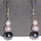 Black and White Faux Pearl Dangle Earrings