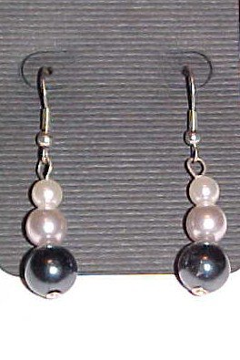 Black and White Faux Pearl Dangle Earrings
