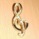 Vintage 80s Era Gold Tone Treble Clef Pin