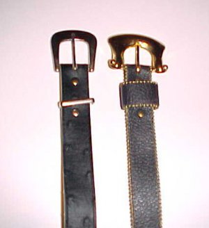 2 Vintage Womens Black Leather Belts Size XS/Small 22-27 Inch Waist