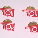 4 Vintage Red and White OK Oklahoma Pinbacks