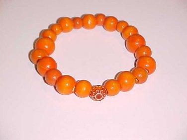 Orange Wooden Bead Stretch Bracelet 7-7.5 inches