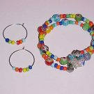 Multicolor Millefiori Wrap Bracelet and Earrings Set