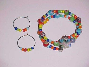 Multicolor Millefiori Wrap Bracelet and Earrings Set