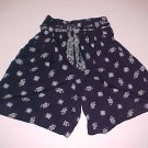 Vintage Absolutely NO! Jeans Navy Blue Paisley Shorts High Waist Size Small