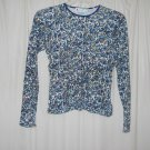 Vtg Currants Multicolor Floral Green Blue Tan Long Sleeve Knit Top Size Small