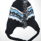 Toby N.Y.C Black Grey White Blue Knit Hat with Ear Braids Boys Sz 8-20