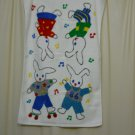 Vintage Springmaid 80s Soft White Hand Towel with Cute Bunny Rabbits