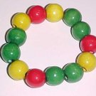 Green Yellow Red Wooden Rasta Bracelet Large Beads by Island Junkee