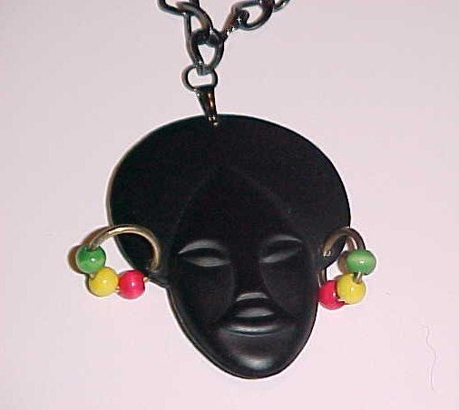 (SOLD)Vintage Afro Rasta Lady Pendant Necklace by Island Junkee