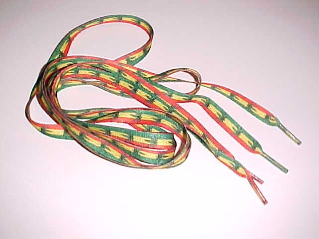 (SOLD) Green Yellow Red Rasta Shoe Laces with Ganja Leaves (1 pair)