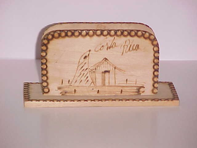 (SOLD) Handcarved Wood Napkin Holder from Costa Rica