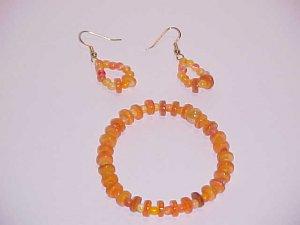 Orange Heishi Shell Bead Bracelet and Earring Set by Island Junkee