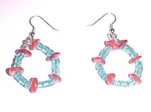 Turquoise and Red Beaded Hoop Earrings
