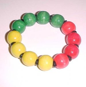 Jumbo Rasta Wooden Stretch Bracelet 7.5 - 8 inch by Island Junkee