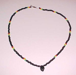 Beaded Rasta Necklace with Black Leaf Pendant