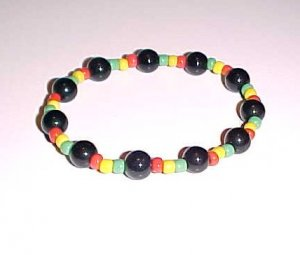 Black Rasta Stretch Bracelet with Glass Beads by Island Junkee