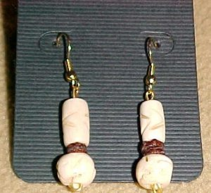Exotic Cream Bone Dangle Earrings