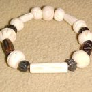 Brown and Cream Beaded Bone Stretch Bracelet 7 - 7.5 inches by Island Junkee