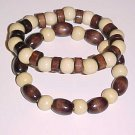 Set of 2 Brown and Cream Wooden Stretch Bracelets 7 - 7.5 inches by Island Junkee