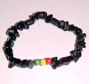 Black Onyx Rasta Stretch Bracelet 7 - 7.5 inches by Island Junkee