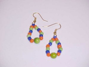 Vibrant Blue Green Orange Hoop Earrings by Island Junkee